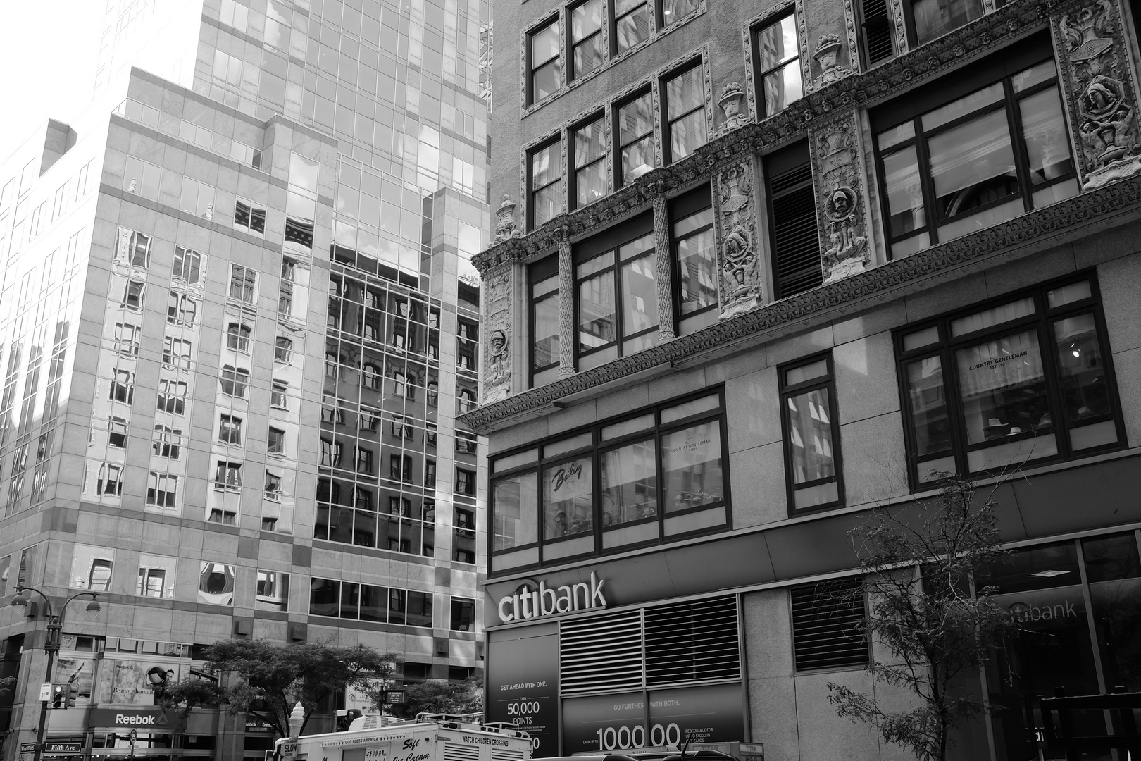 New York City architecture with monochrome